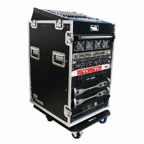 ROAD READY 12u slant mixer rack / 16u verticaal rack