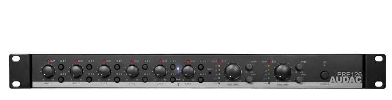 AUDAC PRE126 Installatiemixer 6 inputs & 2 zones
