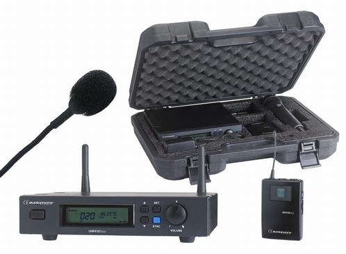 Audiophony UHF410 set ontvanger + dasspeldmicrofoon + beltpa