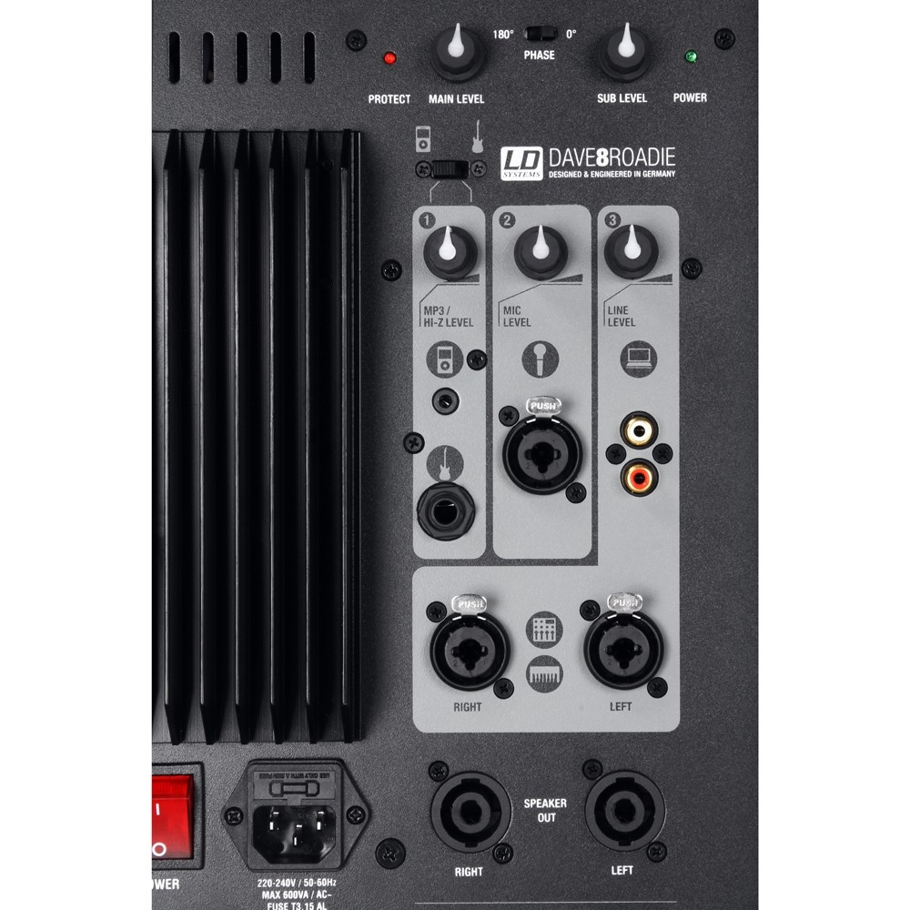 LD SYSTEMS DAVE 8 ROADIE: actief systeem met mixer