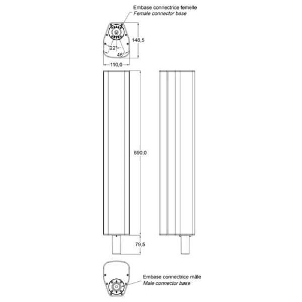 """AUDIOPHONY iLINE83B 8x3"""" speaker 160W RMS/16Ohm (stacking)"""