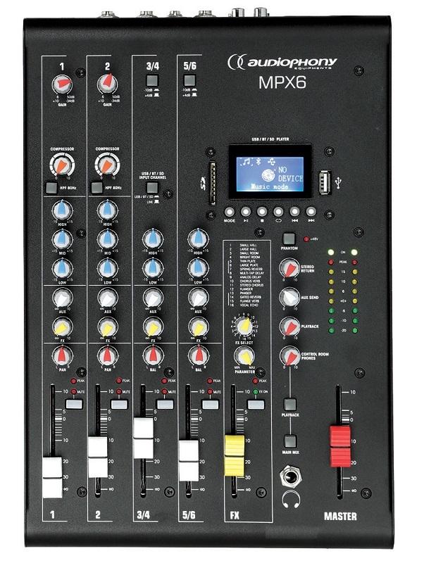 AUDIOPHONY MPX6 - 6 kanaals mengpaneel