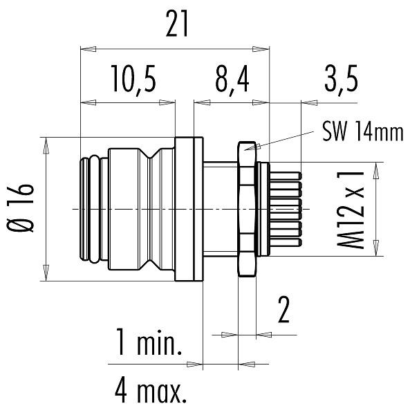 BINDER chassisdeel 720 serie Female 5-polig IP67)