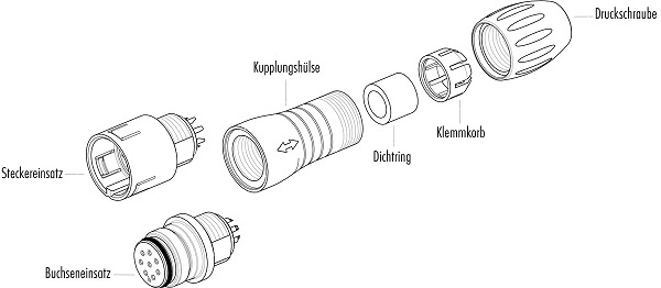 BINDER Kabeldeel 720 serie Male 3-polig (IP67)