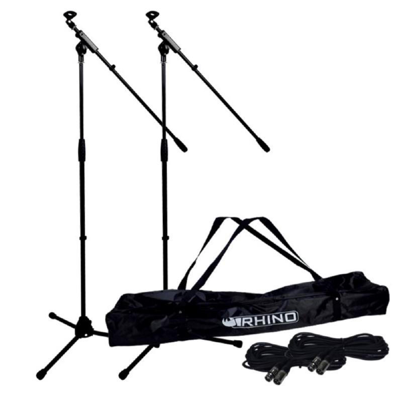 Complete microfoonstatieven (2) set +draagtas en XLR kabels