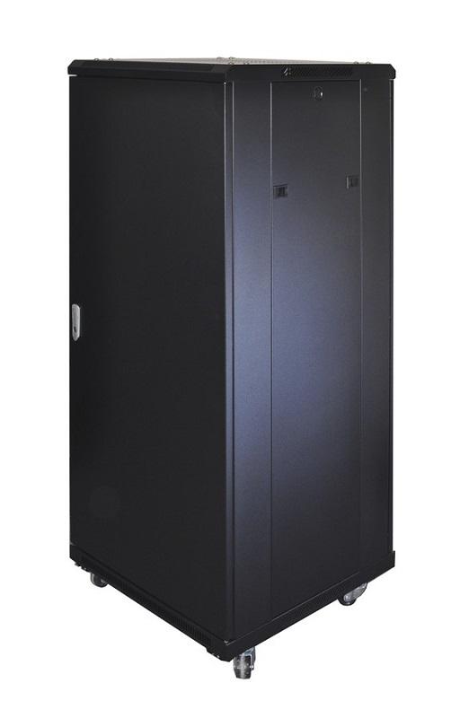 CQ 19 inch Staande Kast Zwart 37HE 600mm incl. glazen deur