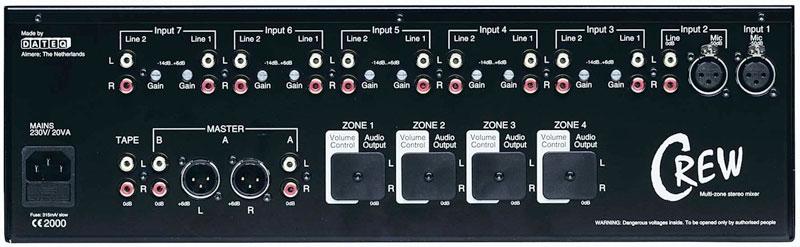 DATEQ CREW 19 inch 7-kanaals installatie en zone-mixer