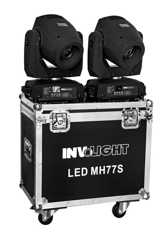 INVOLIGHT 2x LED MH77S 75W LED Spot Movinghead set + case