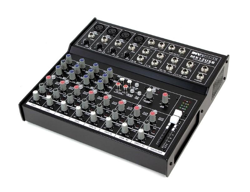 INVOTONE MX12USB live mixer met fantoomspanning