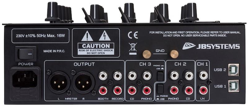 JB SYSTEMS Battle4-USB DJ Mixer met 9 inputs/4 kanalen