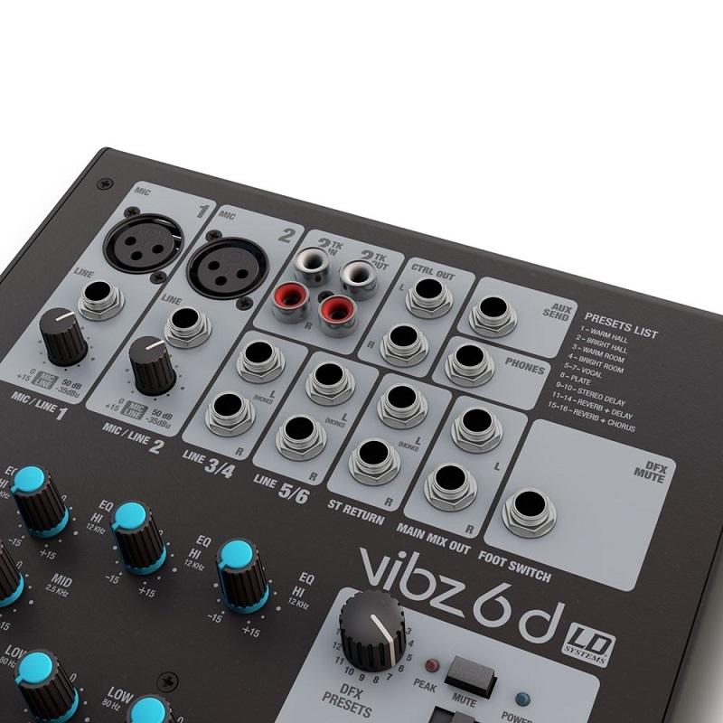 LD SYSTEMS VIBZ 6D - 6 kanaals mengpaneel met DFX