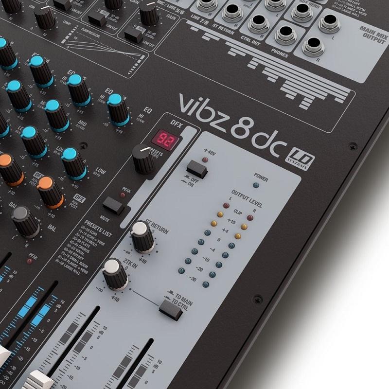 LD SYSTEMS VIBZ 8DC - Mengpaneel met DFX en Comrpressor