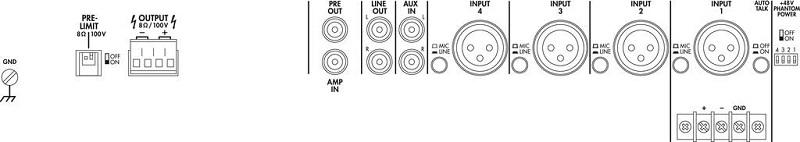 MONACOR PA-928D Versterker Klasse D 1x280W@100V / 8 Ohm