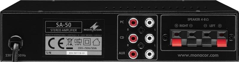 MONACOR SA-50 Compacte Universele Stereo Versterker 2x25W