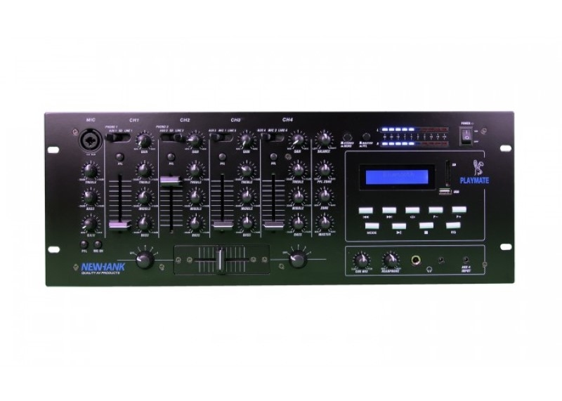 NEWHANK Playmate 19 inch stereomixer met USB/SD mediaspeler