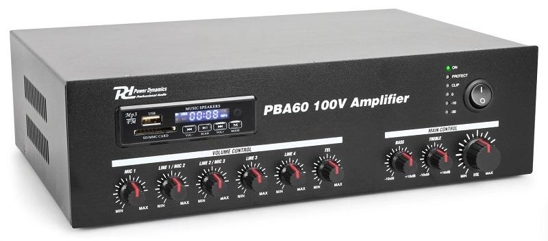 POWER DYNAMICS PBA60 Versterker 60W op 240V, 24V EN 12V accu