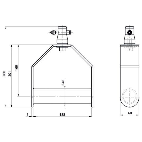 SHOWTEC single downrigger zwart (FT/FQ)