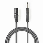NEDIS Gebalanceerde XLR-Audiokabel: XLR 3-Pins - 6.35mm 3.0m