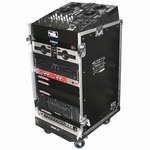 ROAD READY 11u slante rack / 16 unit verticaal rack